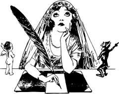 quill pen writing woman