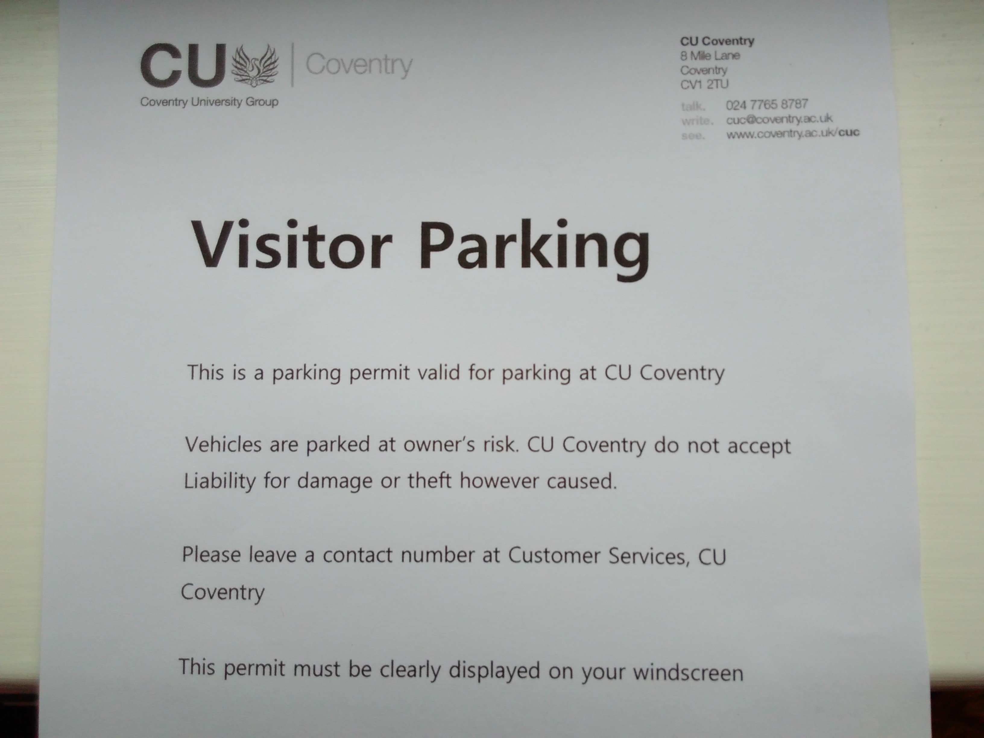 Cov Uni parking permit